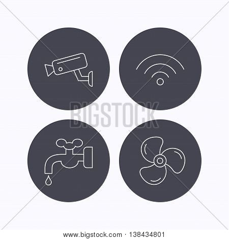 Wifi, video camera and ventilation icons. Water supply linear sign. Flat icons in circle buttons on white background. Vector