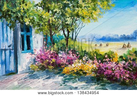 oil painting landscape - garden near the house colorful flowers summer forest