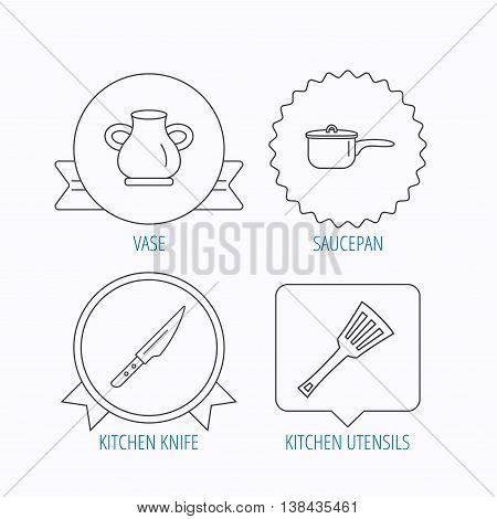 Saucepan, kithcen knife and utensils icons. Vase linear sign. Award medal, star label and speech bubble designs. Vector