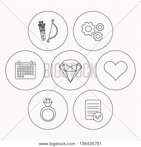 Love heart, brilliant and engagement ring icons. Valentine bow linear sign. Check file, calendar and cogwheel icons. Vector