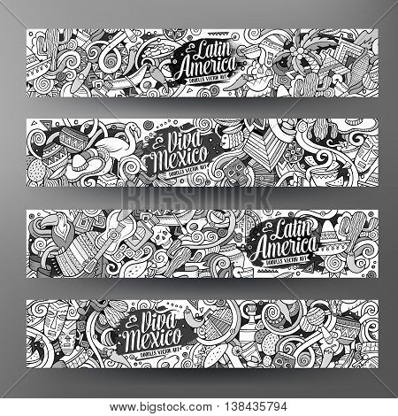 Cartoon cute line art vector hand drawn doodles Latin American corporate identity. 4 horizontal banners sketchy design set
