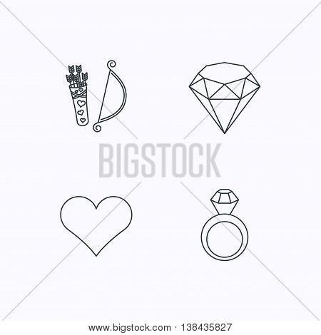 Love heart, brilliant and engagement ring icons. Valentine bow linear sign. Flat linear icons on white background. Vector