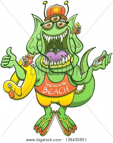 Green monster with pointy ears, long tail, sharp teeth and three eyes while smiling, listening to the music, thumbing a ride and wearing sunglasses, cap, shorts and a