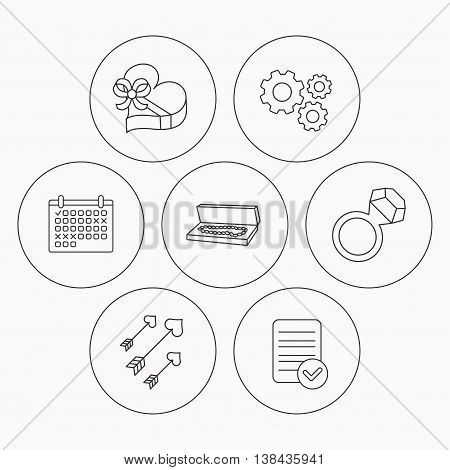 Jewelry, gift box and wedding ring icons. Arrows with hearts linear sign. Check file, calendar and cogwheel icons. Vector