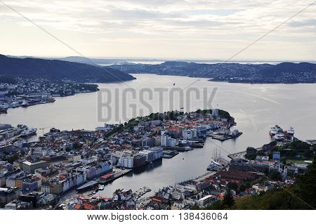 BERGEN, NORWAY - AUGUST 10, 2014: View to the historical buildings and cruise harbor of Bergen from Floyen hill in Bergen, Norway. Bergen is one of the major tourist destinations of Norway.