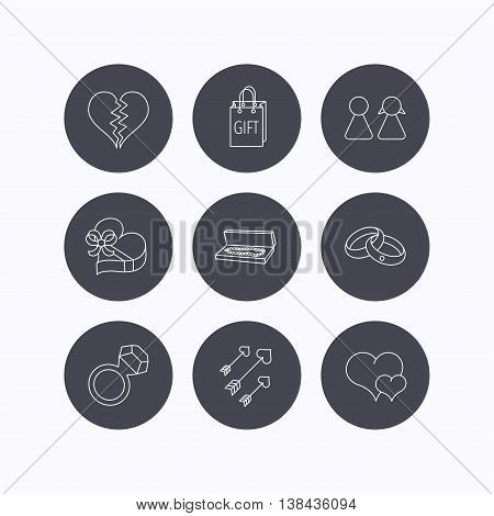Love heart, gift box and wedding rings icons. Broken heart and couple linear signs. Valentine amour arrows flat line icons. Flat icons in circle buttons on white background. Vector