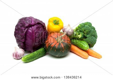 ripe vegetables close-up on a white background. horizontal photo.