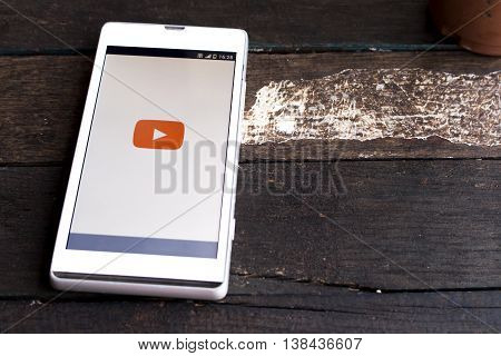 BUNG KAN THAILAND - JANUARY 15 2016: smart phone display youtube app on android phone