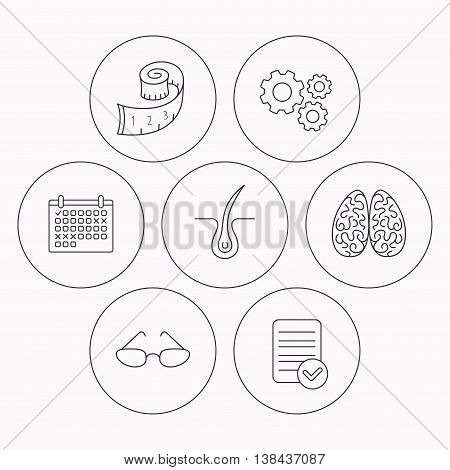 Glasses, neurology and trichology icons. Weight loss linear sign. Check file, calendar and cogwheel icons. Vector