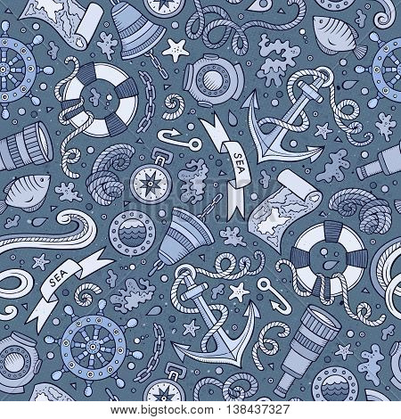 Cartoon cute hand drawn nautical, marine seamless pattern. Monochrome detailed, with lots of objects background. Endless funny vector illustration.