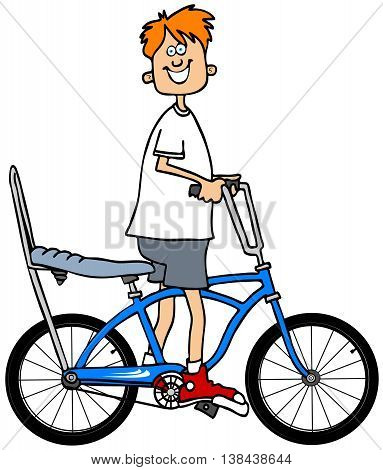 Illustration of a red-headed boy riding a bicycle with a banana seat and extended handlebars.