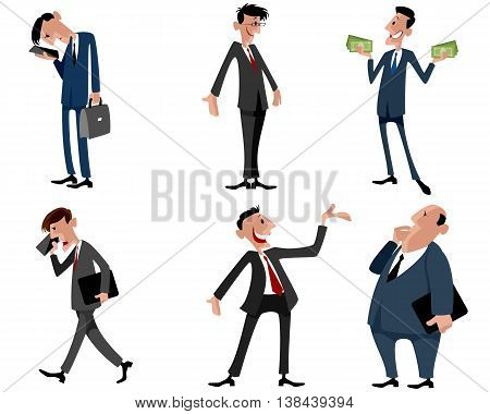 Vector illustration image of a six businessmen set