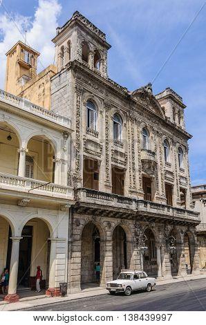 HAVANA, CUBA - MARCH 17, 2016: Colorful houses in the Paseo de Marti in Havana the capital of Cuba