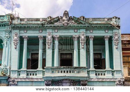 Colorful balconies in Paseo de Marti in Havana the capital of Cuba