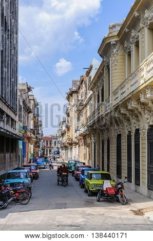 HAVANA, CUBA - MARCH 17, 2016: Colorful old Lada vehicles from the Soviet Union in Havana the capital of Cuba