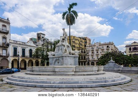 HAVANA, CUBA - MARCH 17, 2016: Fountain of India in Havana the capital of Cuba