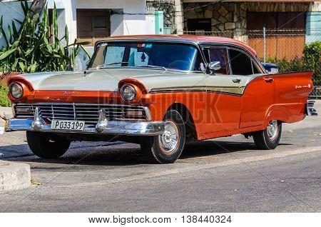HAVANA, CUBA - MARCH 17, 2016: Old automobile parked in the Vedado neighborhood in Havana the capital of Cuba