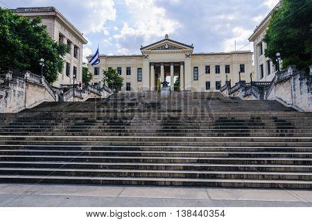 HAVANA, CUBA - MARCH 17, 2016: Stairway to the university in Havana the capital of Cuba