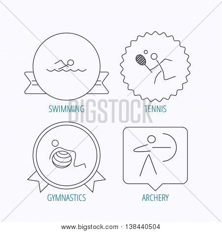 Swimming, tennis and gymnastics icons. Archery linear sign. Award medal, star label and speech bubble designs. Vector