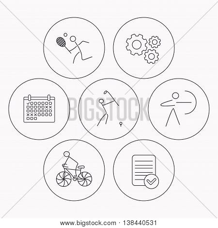 Biking, tennis and golf icons. Archery linear sign. Check file, calendar and cogwheel icons. Vector