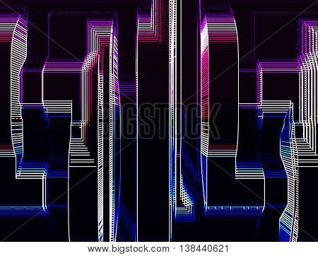 Vertical Pink And Purple Skyscrapers Abstract Llustration Backgr
