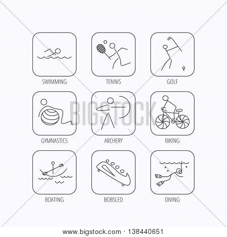 Swimming, tennis and golf icons. Biking, diving and gymnastics linear signs. Archery, boating and bobsleigh icons. Flat linear icons in squares on white background. Vector