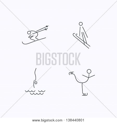 Diving, figure skating and skiing icons. Ski jumping linear sign. Flat linear icons on white background. Vector