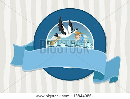 Vector banners and labels backgrounds with cartoon stork delivering a newborn baby boy. Design text ribbons.