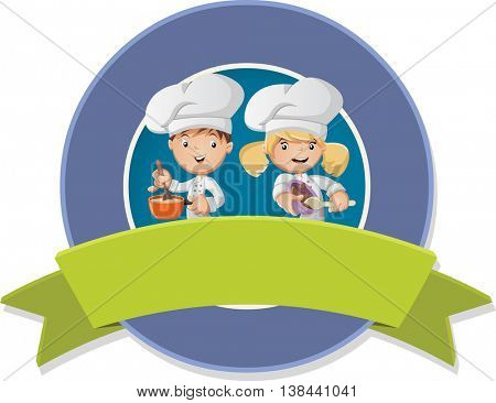 Vector banners and labels backgrounds with cartoon chefs cooking food. Design text ribbons.