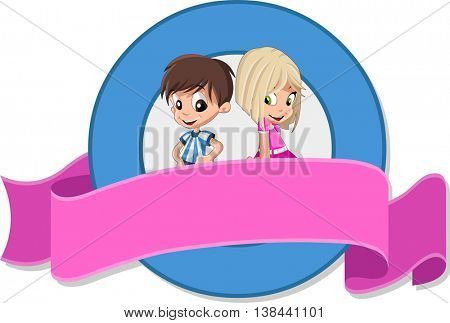 Vector banners and labels backgrounds with happy cartoon children. Boy and girl. Cute kids. Design text ribbons.