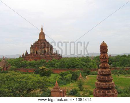 Buddhist Paya In Red Rocks, Bagan, Myanmar