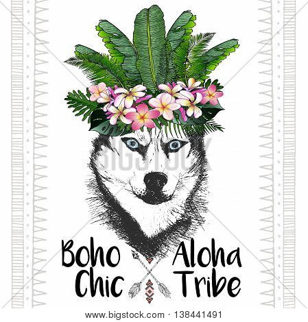 Vector close up portrait of siberian husky wearing the exotic flower crown. Hand drawn domestic dog illustration. Tropical Hawaiian boho chic decoration with palm leaves and flowers. Aloha tribe