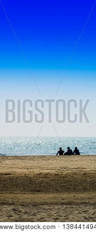 Vertical three freinds sitting on the ocean beach background backdrop