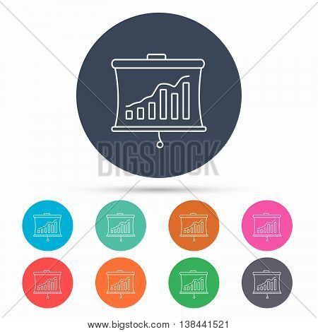 Statistic icon. Presentation board sign. Growth chart symbol. Icons in colour circle buttons. Vector