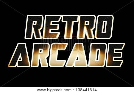 Horizontal Warm Glow Retro Arcade Text Illustration Background