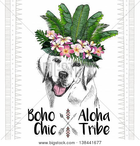 Vector close up portrait of labrador retriever wearing the exotic flower crown. Hand drawn domestic dog illustration. Tropical Hawaiian boho chic decoration with palm leaves and flowers. Aloha tribe