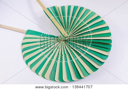 Fan, Made Of Palm Leaves, Ancient, Nature, On White Background. (select Focus)