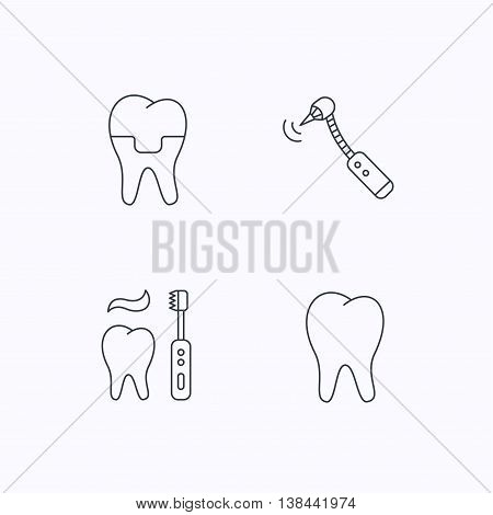 Brushing teeth, tooth and dental crown icons. Drilling tool linear sign. Flat linear icons on white background. Vector
