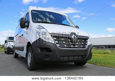FORSSA, FINLAND - JULY 9, 2016: New white Renault Master van close up. The design of the vehicle boasts a new grille.