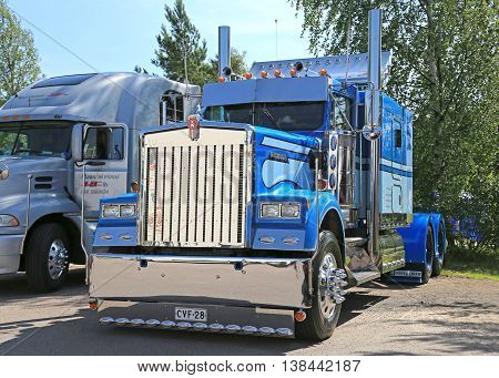 PORVOO, FINLAND - JULY 2, 2016: Blue Kenworth show truck tractor on display at Riverside Truck Meeting 2016 in Porvoo Finland.