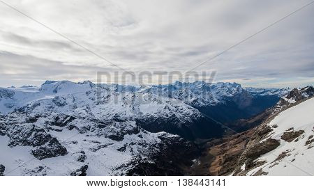 Holiday in Switzerland, panorama view of winter in Mount Titlis Switzerland