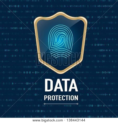 Vector : Data Protection Concept, Gold Sheild Protect A Finger Print (privacy Data) On Navy Blue Bac