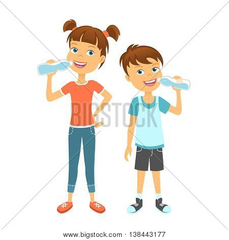 Happy children drinking water. Kids drink water