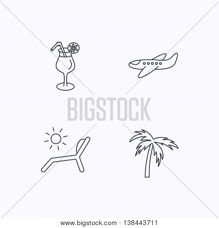 Airplane, deck chair and cocktail icons. Palm tree linear sign. Flat linear icons on white background. Vector