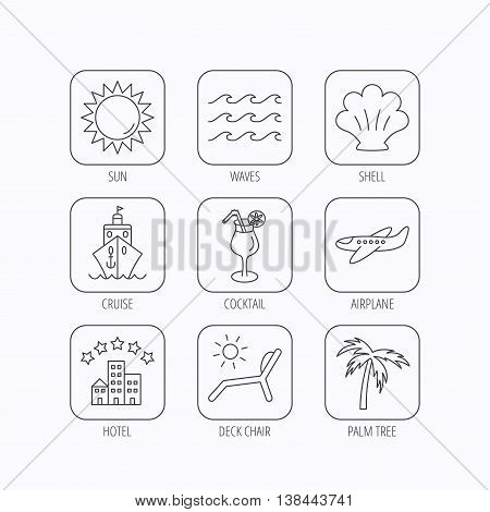 Cruise, waves and cocktail icons. Hotel, palm tree and shell linear signs. Airplane, deck chair and sun flat line icons. Flat linear icons in squares on white background. Vector