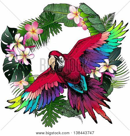 Vector portrait of Ara Macaw parrot. Decorated with exotic palm leaves and flowers. Wild African animals collection in hand drawn color style.