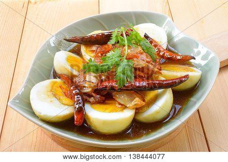 Egg with Tamarind sweet Sauce thai food