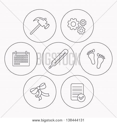Footprint, bow and thermometer icons. Hammer linear sign. Check file, calendar and cogwheel icons. Vector