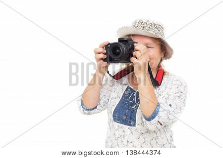 Woman Learns To Hold  Photocamera And Understand Settings
