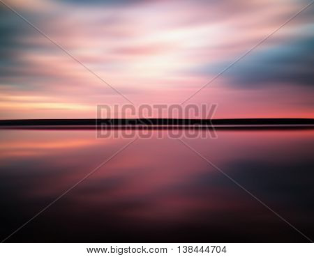 Vivid Sunset Sunrise Horizon Lake Reflections Landscape Abstract